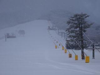 こんな時にこそ、雪を稼ぐ!…って事(?)で、今日も降雪機稼働中。