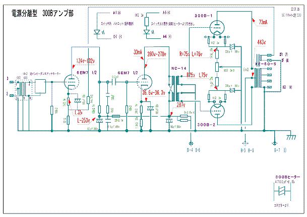 真空管 電源分離型 300Bプッシュプルアンプ